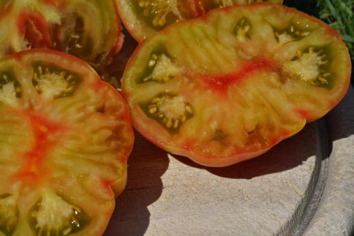 Auch das Innere der Tomaten ist farbenfroh: Copper River.